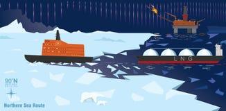 Gaz naturalny produkcja przy Arktycznym oceanem royalty ilustracja