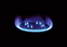 Gaz naturel brûlant sur le brûleur Photos libres de droits