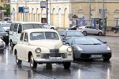 GAZ-20 Pobeda and Lamborghini Gallardo Stock Photo