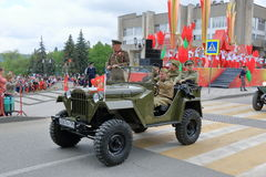GAZ-67 on the Victory Day Parade in Pyatigorsk, Russia Stock Photo