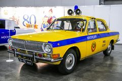 GAZ-24 Volga. Moscow, Russia - September 2, 2016: Soviet police car GAZ-24 Volga presented at the annual Moscow International Motor Show MIMS-2016 stock photo