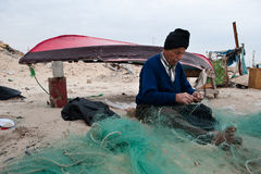 Gaza Fisherman Mending Nets Royalty Free Stock Photos