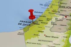 Gaza szpilka w mapie Fotografia Stock