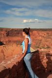 Gaze. A beautiful young native american woman gazing at the southwestern landscape Stock Image