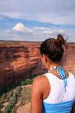 Gaze. A beautiful young native American woman gazing at the southwestern landscape Stock Photo