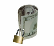 Gaze of hundred buck bill. Locked money as a symbol of savings and guarantee Stock Image