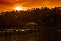 gazebo över solnedgång Arkivfoto
