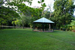 Gazebo στο πάρκο Μαυρίκιος βοτανικός κήπος pamplemousses Στοκ Φωτογραφίες