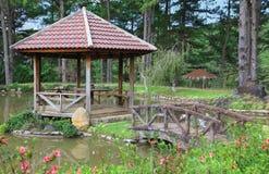gazebo моста деревянный Стоковые Изображения RF