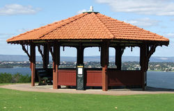 Gazebo. On a hill overlooking view of river royalty free stock photo