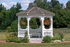 Gazebo. In the summer royalty free stock images