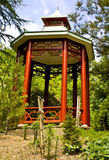 Gazebo. Asian gazebo captured on partly cloudy day stock image