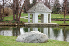 Gazebo. This is a gazebo and a rock by the lake Royalty Free Stock Image