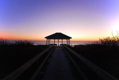 Gazebo. On beach at sunrise royalty free stock image