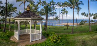 Gazebo along the beautiful east coastline of Kauai Stock Photo