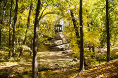 Gazebo in autumn forest. Gazebo in october autumn forest Stock Photography