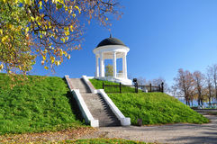 Gazebo on the beach. Gazebo on the bank of the Volga River city of Kostroma in the fall royalty free stock photos