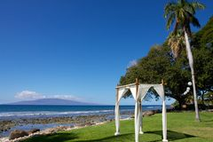 Gazebo on the beach in Hawaii Royalty Free Stock Image