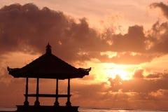 Gazebo at Beautiful Beach. During sunrise Royalty Free Stock Photography