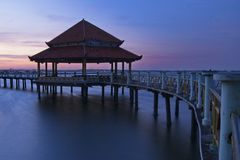 Strong Gazebo at Pantai Kartini Jepara royalty free stock photography