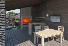Gazebo binnen mening, 3D modelleren geeft terug Stock Afbeelding
