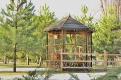 Gazebo for birds in a landscape park Royalty Free Stock Photography