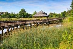 Gazebo Boardwalk odbicia Jeziorny park Virginia Obrazy Stock