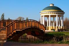 Gazebo and bridge. Gazebo and a bridge on the river  Yauza in Sviblovo Royalty Free Stock Photography