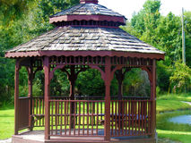 Gazebo building on green water park Royalty Free Stock Photo