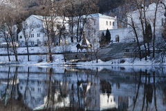 Gazebo Chapel on the River. Churches of Sviatohirsk Lavra. Sunny day in January. Gazebo Chapel on the River Stock Image
