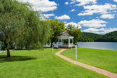 Gazebo at Claytor Lake State Park, USA. Dublin, VA – August 22th; A white gazebo on a beautiful summer afternoon at Claytor Lake located in Claytor Lake royalty free stock images