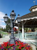 A Gazebo with Colorful Flowers Stock Photo
