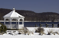 Gazebo covered with snow Stock Photos