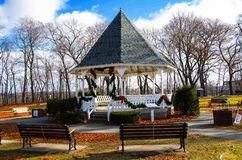 Gazebo. An gazebo decorated for Christmas in a small town in central mass Royalty Free Stock Images
