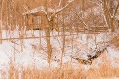 Gazebo del parque ocultado por los árboles fotografía de archivo