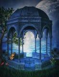 Gazebo di fantasia con la luna illustrazione vettoriale