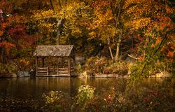 Gazebo and dock in autumn forest Stock Photo