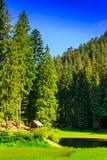 Gazebo en een klein meer naast het bos in de bergen in c Stock Afbeeldingen