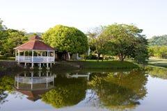 Gazebo et arbres sur le lac Photos libres de droits
