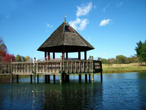 Gazebo in the Fall. View of a gazebo over water, fall colors and foliage Stock Photography