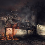 Gazebo on fire and tornado Royalty Free Stock Photos