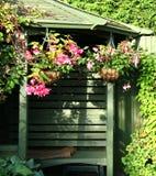 Gazebo and Flowers. Flowering Baskets and Garden Gazebo in an English Back Garden Stock Photography