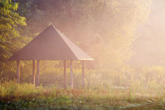 Gazebo in the forest. In beautiful misty morning Royalty Free Stock Images