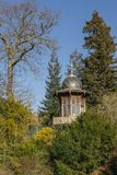 Gazebo in the forest. Spring Park in the center of Paris royalty free stock images