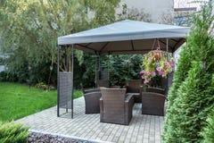 Gazebo in the garden. Horizontal view of gazebo in the garden royalty free stock image