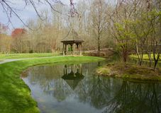 Gazebo in the garden and reflection Stock Image