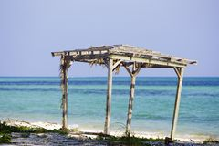 Gazebo Grand Bahama Island. A gazebo sits on the shore in Grand Bahama Island Royalty Free Stock Photo