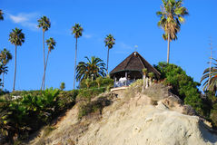 Gazebo at Heisler Park, Laguna Beach, California. Heisler Park is a beautiful, grassy, landscaped park that lies on a bluff overlooking beaches and rocky coves stock images