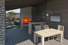 Gazebo inside view, landscaping 3D render. Natural character of the site into the design Stock Image