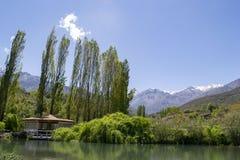 Gazebo by the lake stock photography